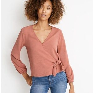 Madewell Texture & Thread Crepe Wrap Top, XS